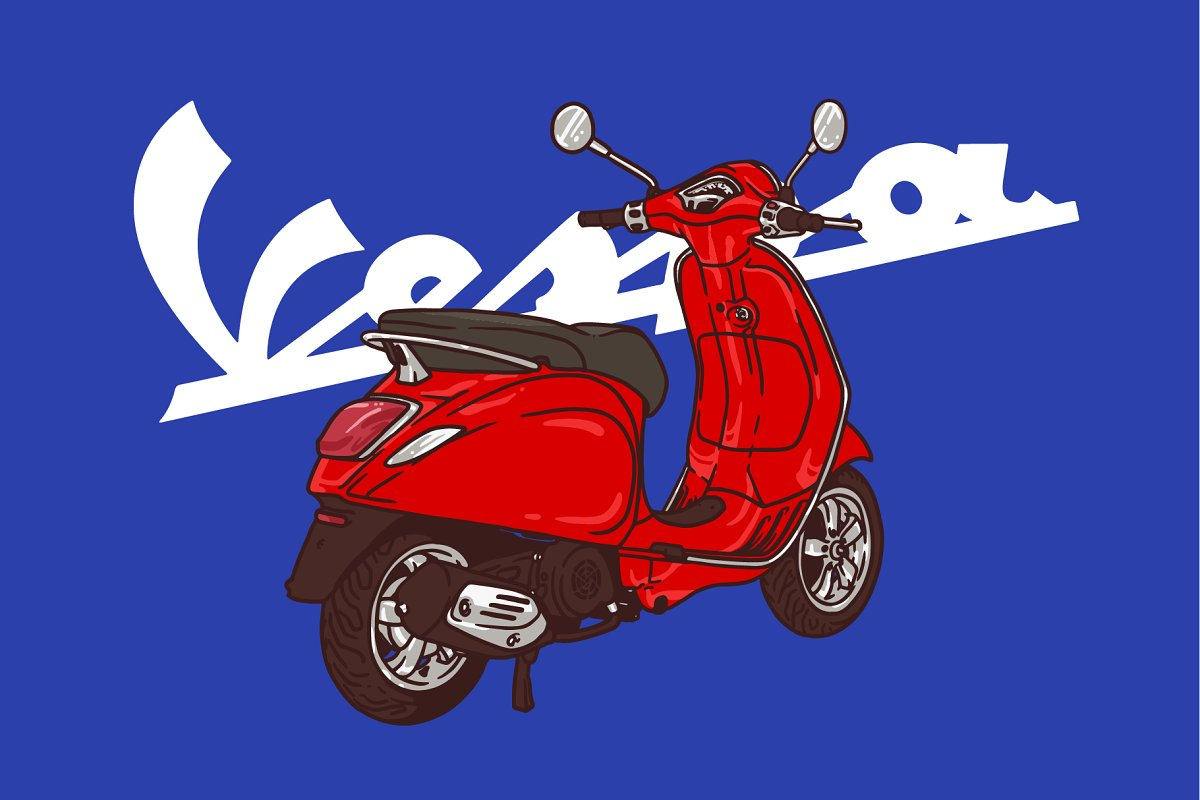 vespa red illustration