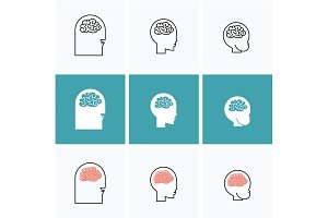 icons vector brain heads of three
