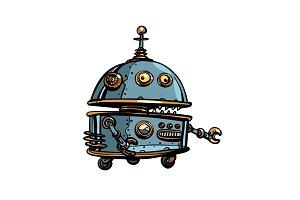 Funny round robot, pop art retro