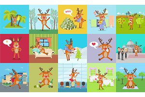 Deer Daily Activity Vector Set