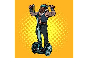 Biker on electric scooter, virtual