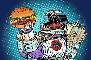 Astronaut monster eats burger. Greed