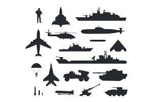 Set of Military Armament Vector
