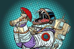 Astronaut monster eats Fly agaric