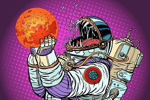 Astronaut monster eats Mars. Greed