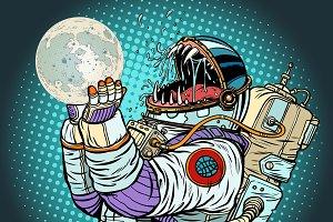 Astronaut monster eats Moon. Greed