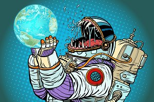 Astronaut monster earth planet