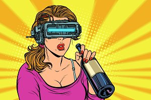 VR glasses. Woman drinking wine from