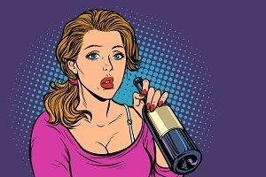 Woman drinking wine from a bottle