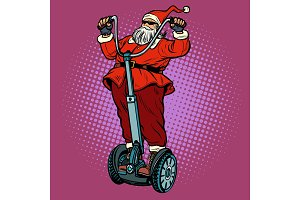 Santa Claus biker with Christmas