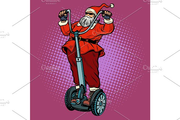 santa claus biker with christmas illustrations - Biker Christmas
