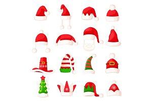Santa Claus Hat Set Isolated. Big