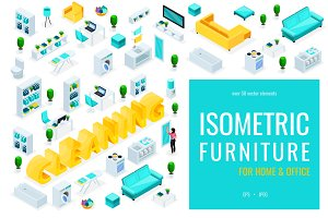 Isometric people & office furniture