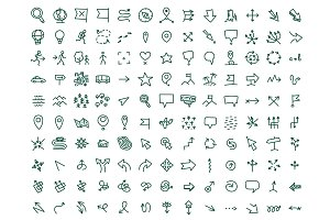 Hand draw map icons set travel