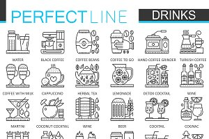 Drinks concept line icons