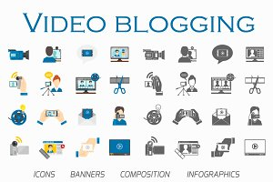 Video blogging large flat vector set