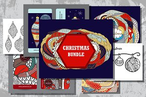 Set of hand draw christmas bundle