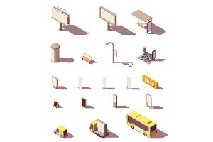 Vector isometric outdoor advertising