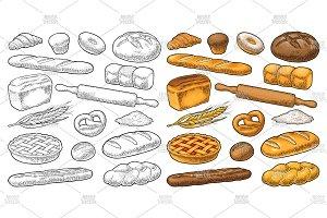 Set bakery. Engraving