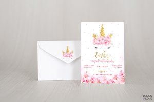 Birthday Invitation Unicorn Blossom