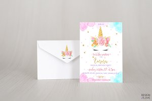 Birthday Invitation Unicorn Rainbow
