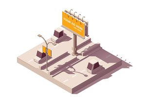 Vector isometric billboard on road