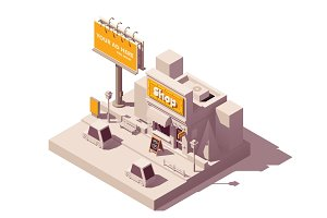 Vector isometric billboard and shop