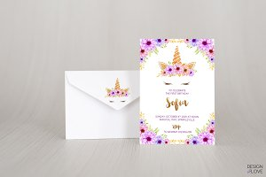 Birthday Invitation Unicorn Purple