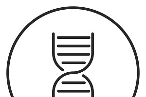 Dna stroke icon, logo illustration