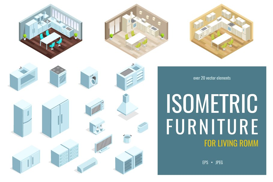 Isometric Kitchen Interior Illustrations Creative Market