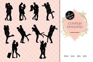 Couples Hugging Silhouette
