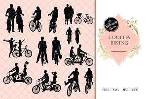 Couples Biking Silhouette