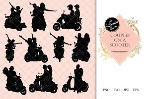 Couples on a scooter Silhouette
