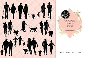 Couples with Dog Silhouette