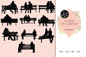 Couple on a Bench Silhouette