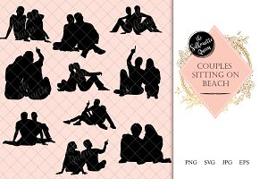 Couple Sitting on Floor Silhouette