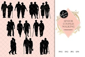 Senior Couple Walking Silhouette
