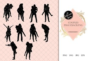 Couples piggybacking Silhouette