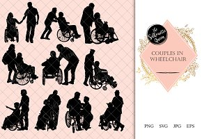 Couple in Wheelchair Silhouette