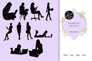 Working Women Laptop Silhouette