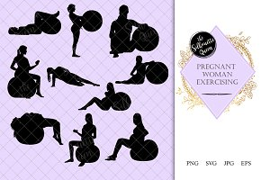 Pregnant Woman Exercising Silhouette