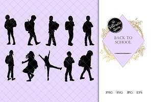 Back to School Kids Silhouette