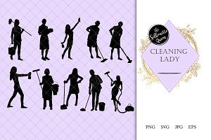 Cleaning Lady Silhouette