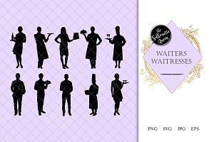 Waiters and Waitress Silhouette