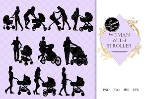Woman with Stroller Silhouette