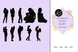 Woman with Baby Silhouette