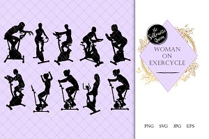 Woman on Exercycle Silhouette