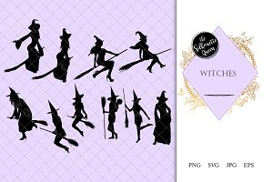 Witch with Broomstick Silhouette