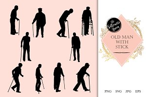 Old Man Silhouette, Old Man Clipart,