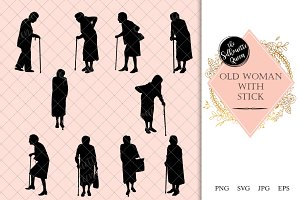 Old Woman Silhouette, Old Woman Clip